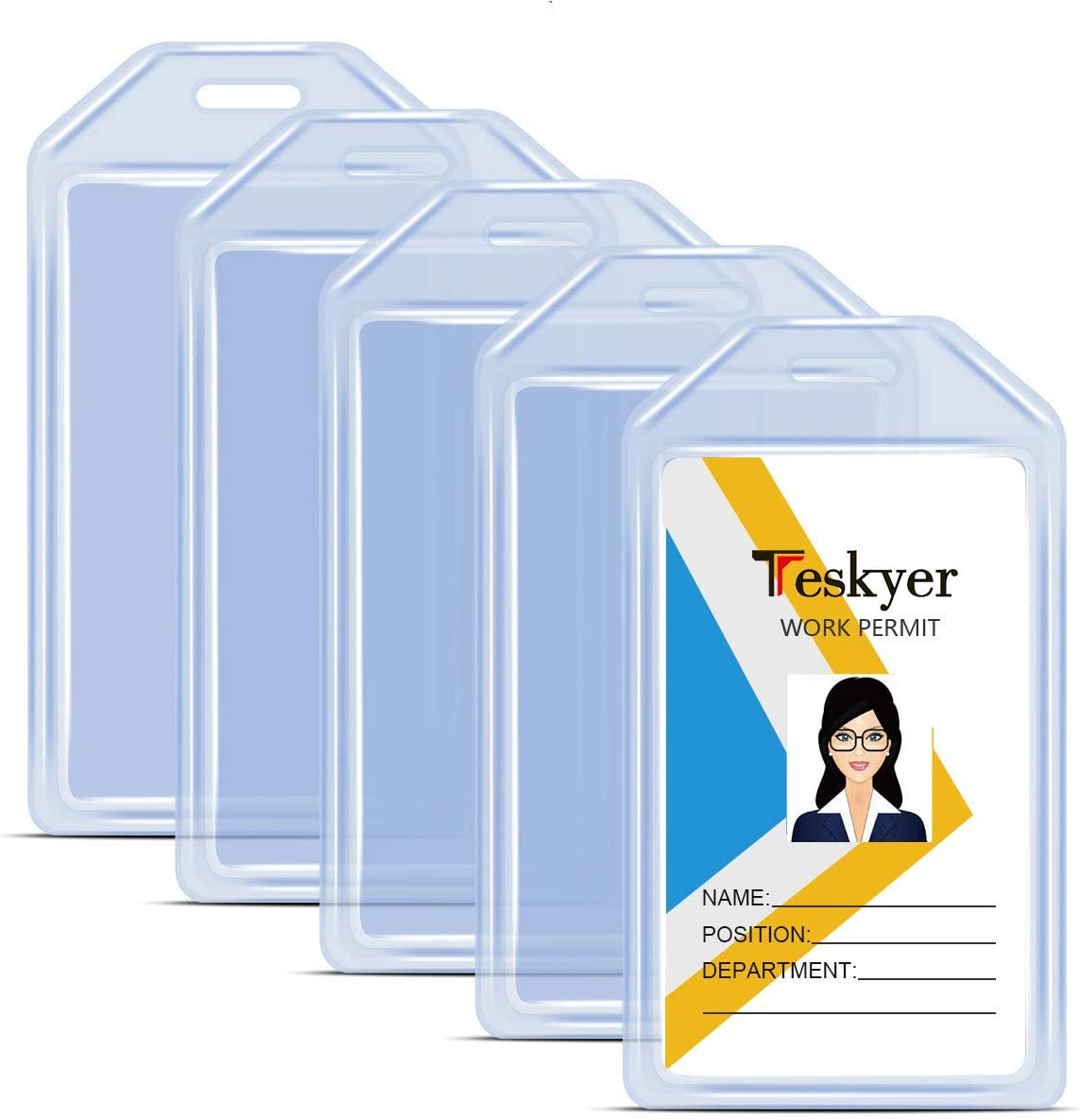 Teskyer Heave Duty Detroit Mall Clear Plastic Holder Made Badge ID Max 89% OFF Silicone