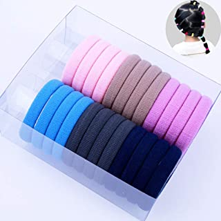24PCS Hair Ties for Kids Girls Large Circle Cotton Seamless Hair Bands Soft Elastic Hair Ties for Thin Hair No Damage Pony...