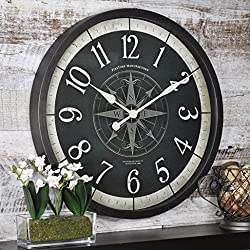 FirsTime & Co. Compass Rose Wall Clock, American Crafted, Oil Rubbed Bronze, 24 x 2 x 24,