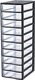 SODIUM Torre Cajonera de Ordenación con 10Transparente/Negro A4 / 10 cajones
