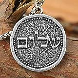 xtszlfj Mans Shalom Collar Jerusalén 25 * 25mm Israel Hanukkah Moneda Colgante Medieval Judaica joyería Religiosa