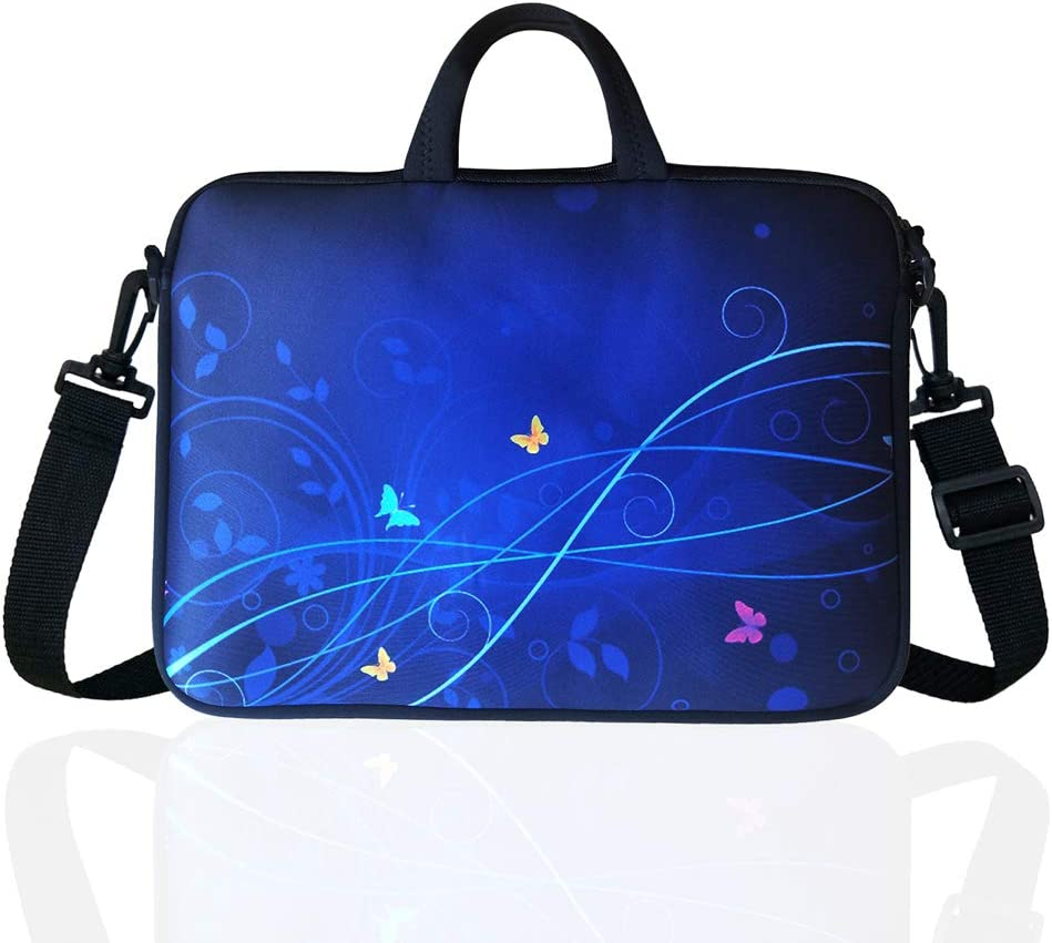 "11.6-Inch to 12.5-Inch Neoprene Laptop Shoulder Messenger Bag Case Sleeve for 11 11.6 12 12.2 12.5"" Inch Chromebook/Tablet/Notebook/Macbook Pro/Air (Blue)"