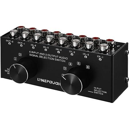 Festnight Conmutador de audio de 6 entradas y 2 salidas Caja selectora de señal de audio bidireccional Distribuidor divisor con entradas y salidas RCA