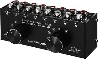 Festnight Conmutador de audio de 6 entradas y 2 salidas Caja selectora de señal de audio bidireccional Distribuidor diviso...