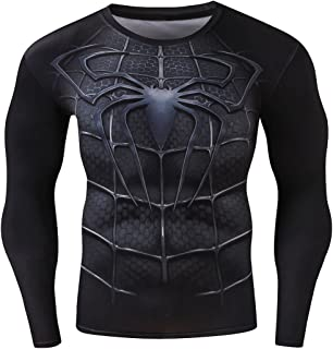 Red Plume Men's Compression Sports Shirt Black Spider Long Sleeve Tee