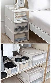 MU Ménage Portable Boîte De Rangement en Bois Massif, Type De Tiroir Transparent Placard Lit Bas Vêtements Couette Jouet Q...