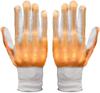 Neusky LED Leucht Handschuhe, Blink Party Leuchthandschuhe für Halloween, Karneval Weihnachten, Neujahr oder Mottoparties (Gelb)