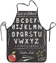 Wistty Fashion Delantal Ajustable para Mujeres, Hombres, Chef, Cocina, hogar, Restaurante, cafetería, cocinar, Hornear, jardinería – Vintage Back to School Alphabet ABC