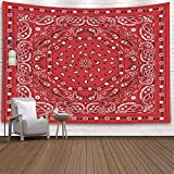 Pamime Home Decor Tapestry for Christmas Red Bandana Print Wall Tapestry Hanging Tapestries for Dorm Room Bedroom Living Room 80X60 Inches Tapestry,Red White 1