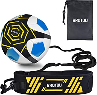 BROTOU Soccer Trainer Volleyball Football Kick Trainer Solo Skill Practice Training Aid for Kids Youth Adult Universal Fits Size 3, 4, 5 Footballs Volleyball Rugby