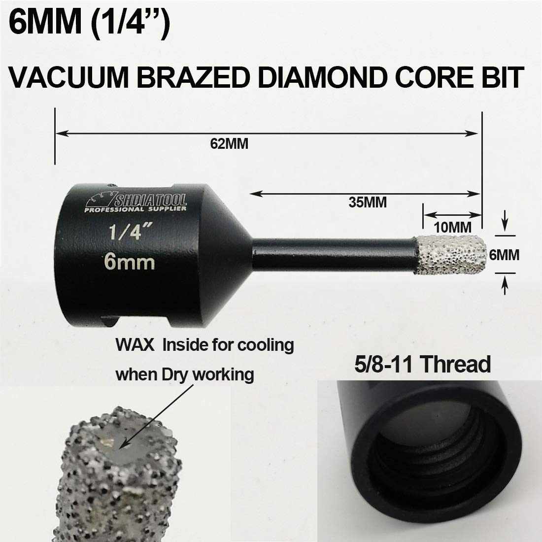 SHDIATOOL 2pcs 5mm Dry Diamond Drill Bits with 3//8 Inch Hex Shank for Granite Marble Ceramic Tile Vacuum Brazed Hole Saws