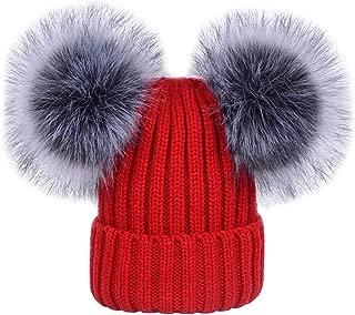 Bienzoe Girls Kids Winter Knit Hat Fleece Lined