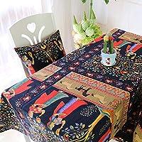 DFGH エスニックスタイルの綿とリネンの印刷テーブルクロス、コーヒーテーブルソファカバークロス、屋外および屋内用の長方形のデスクテーブルクロス