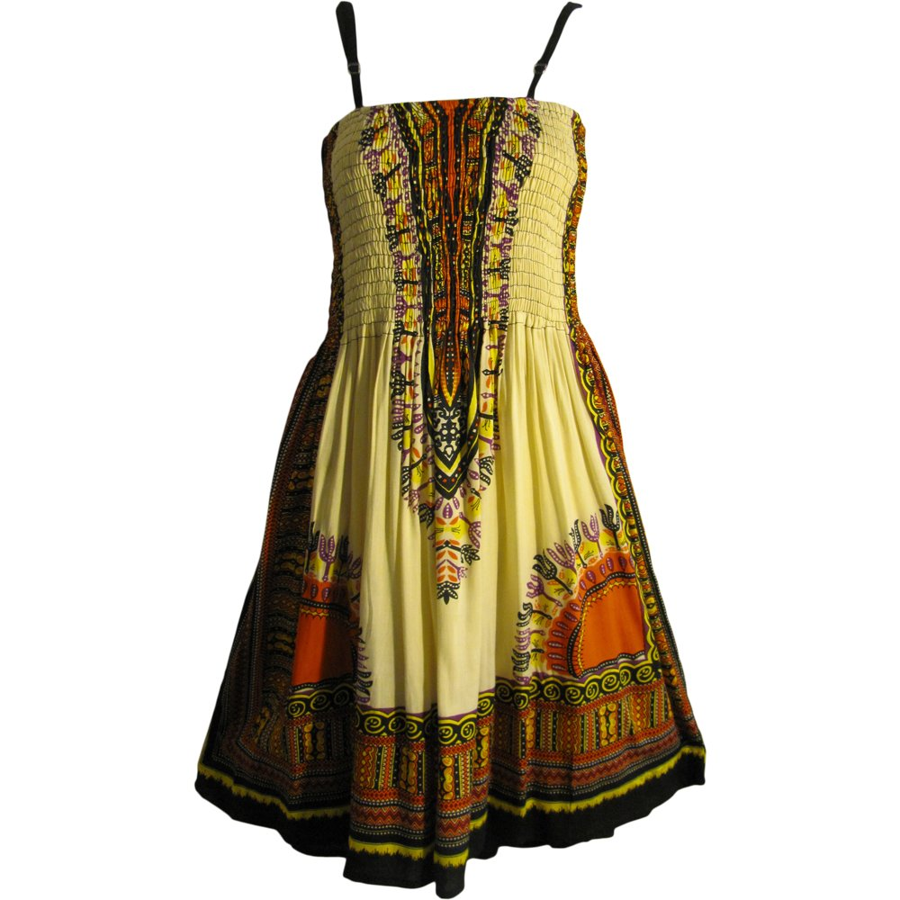 Available at Amazon: Yoga Trendz African Ethnic Dashiki Smocked Bodice Spaghetti Strap Mid-Length Dress