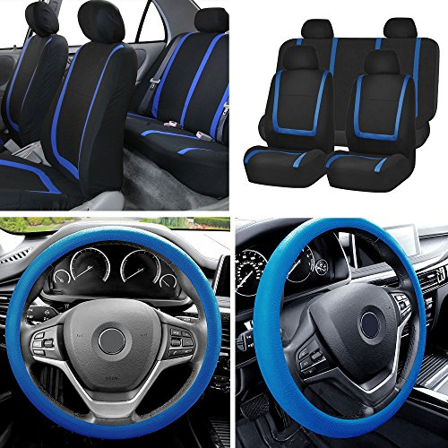 FH Group FB032114 Unique Flat Cloth Full Set Car Seat Covers w. Silicone Steering Wheel Cover, Blue/Black Color- Fit Most Car, Truck, SUV, or Van