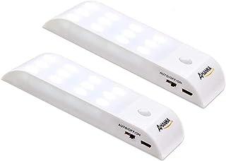 AMANKA Luz nocturna LED, lámpara de armario con sensor de luz y movimiento, batería recargable, tira magnética adhesiva para armario, escaleras, pasillo, cocina, garaje, etc. [2 unidades]