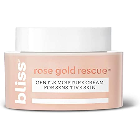 Bliss Rose Gold Rescue Moisturizer, Gentle Face Cream with Soothing Rose Water & Nourishing Colloidal Gold for Sensitive Skin | Fragrance-Free | Clean | Cruelty-Free | Paraben Free | Vegan | 1.5 oz
