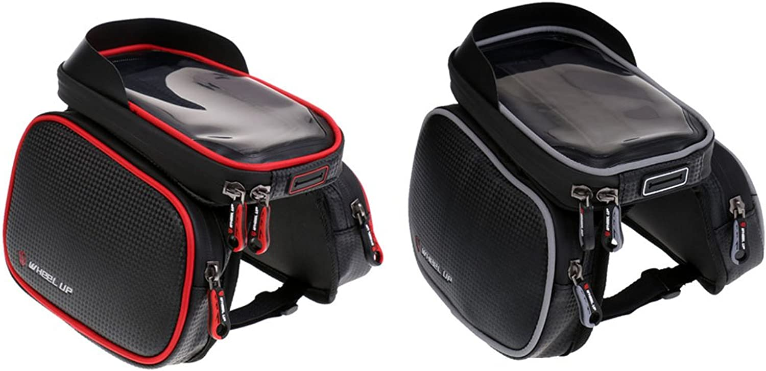 MonkeyJack 2Pcs Bicycle Front Tube Bag Bike Frame DoublePouch Case for 6.2  Smartphone