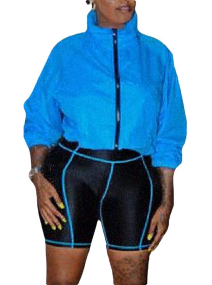 フローティング宇宙飛行士付録女性夏の2ピース衣装ジップアップウィンドブレーカージャケットショートパンツパンツトラックスーツセット