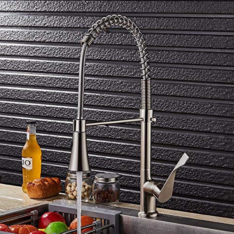 ZHAOSHOP Wasserhahn gebürstet Feder drehbar Warm- und Kaltwasserhahn Spülbecken Wasserhahn 9115