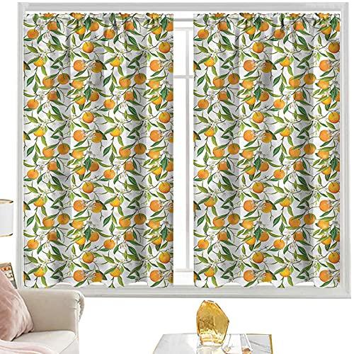 Cortinas y cortinas verdes y naranjas, rama naranja W52 x L72 pulgadas cortinas opacas