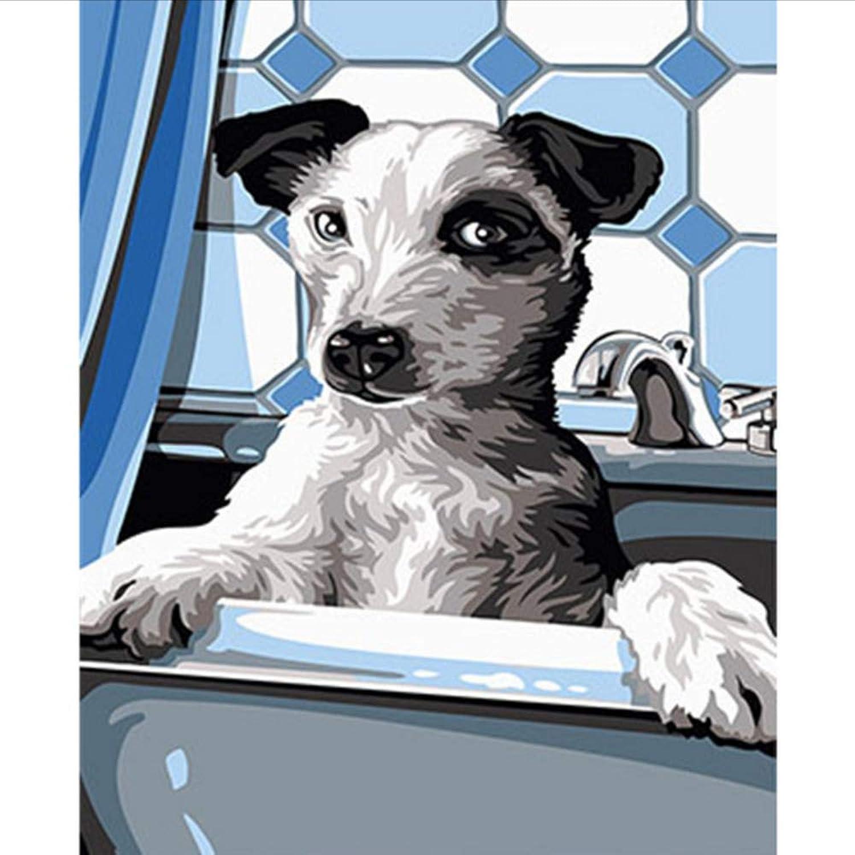 Waofe Schöne Tiere Hund Gerahmte Bilder Diy Malen Nach Zahlen Diy Ölgemälde Auf Leinwand Dekoration Wandkunst Gx26538 40X50 Cm B07PS5HTDM   Kaufen Sie online