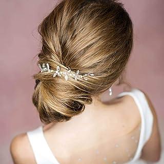 Ushiny - Accessorio per capelli da sposa in cristallo, accessorio per capelli per donne e ragazze