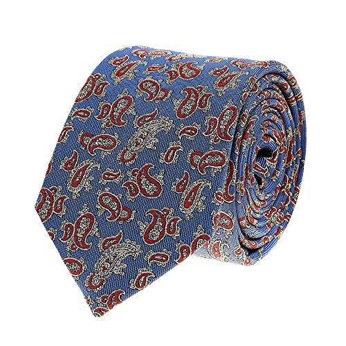 Bruce Field - Cravate en pure soie ciel à motif cachemire