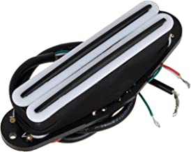 Kmise Electric Guitar Dual Hot Rail Humbucker Pickup Double Coil Blade For Fender Strat Guitar Parts Replacement (White&Black)