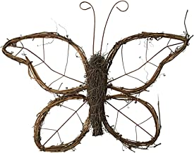 CLISPEED Natural Grapevine Wreath Butterfly Hanging Decoration Rattan Garland Twig Vine Branch Wreath for Christmas Holida...