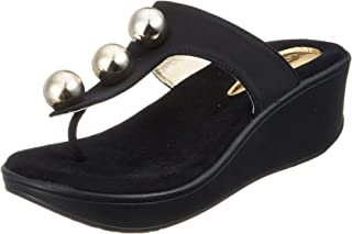 Catwalk Women's Pearl Detail Thong Slip Ons