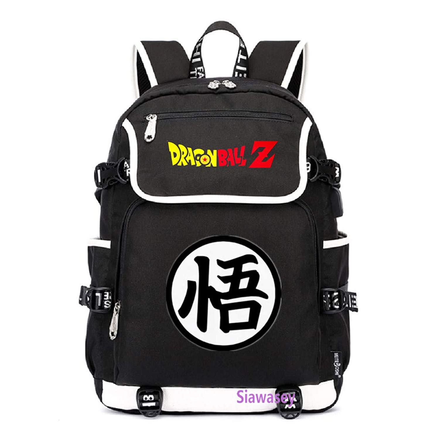 Siawasey Anime Dragon Ball Z Cosplay Goku Backpack Daypack Bookbag Laptop School Bag with USB Charging Port