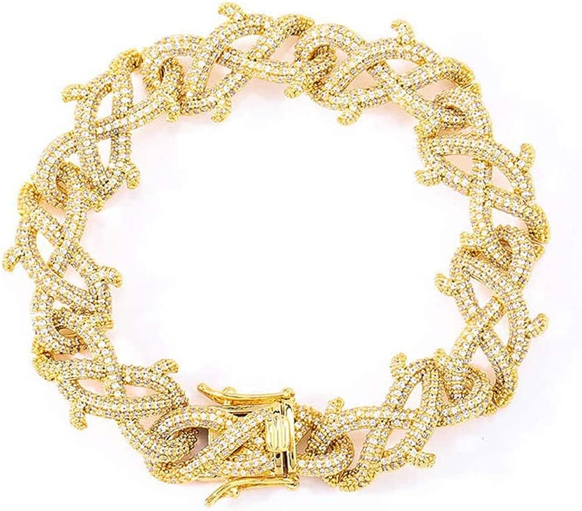 Hiphop Necklace, 67% OFF of fixed price Iced Out Personality Bracel Chain Thorns Cuba Ranking TOP4