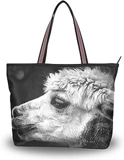 MNSRUU Umhängetasche Alpaka-Handtasche Strandtasche für Damen, Schwarz/Weiß
