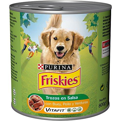 Purina Friskies Trozos en Salsa Perro Adulto Buey, Pollo y Verduras, Pack...