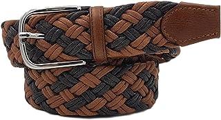 ESPERANTO Cintura estiva rafia e cotone 3,5 cm uomo donna leggera- finiture cuoio e fibbia nichel free anallergica