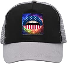 ARCHOL Adjustable Mesh Hats Adult Baseball Cap Violent Lips USA Flag Summer Hats for Men and Women