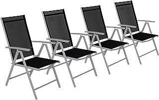 CCLIFE Alu Klappstuhl Gartenstuhl Verstellbar Klappbar Belastbarkeit 150  Kg, Farbe:Hellgrau, Größe: