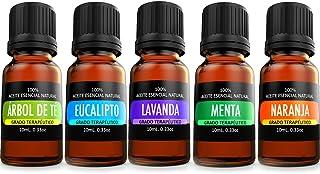 ORIGINAL NATURE Kit de 5 aceites Esenciales para difusor y Aromaterapia (Lavanda, Árbol de Té, Eucalipto, Naranja, Menta, ...