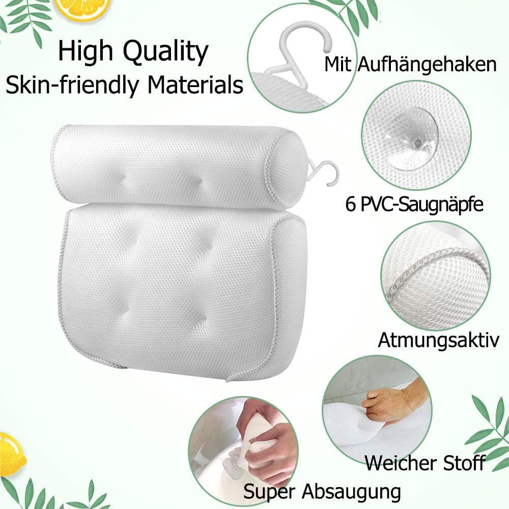 Wei/ß Massage badewannenkissen 3D-Mesh-Badewannen kopfkissen Geeignet f/ür Home SPA Badewanne Beejirm Badekissen Bade Kopfst/ütze mit 6 Saugn/äpfen