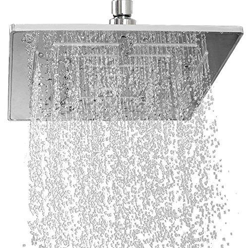 Yawall Duschkopf, quadratisch, 20,3 cm, Hochdruck-Edelstahl & Hochglanz-Chrom, luxuriöser, langlebiger Regenduschkopf, Regendusche & Wasserfall-Dusche