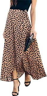 Womens Maxi Skirt Leopard Print Chiffon Beach Pleated...