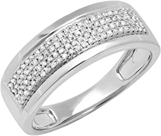 Dazzlingrock Collection 0.40 Carat (ctw) 14K Gold Round White Diamond Men's Flashy Pinky Wedding Ring