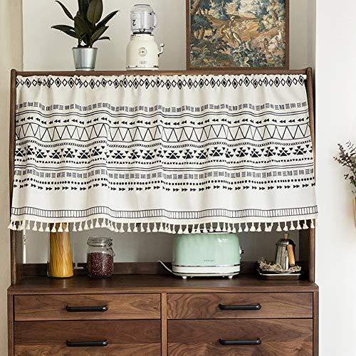 Michorinee Scheibengardine Boho Bistrogardine Geometrisches Muster Kurze Gardine Blickdicht Weiß Vorhänge für Küche Badezimmer Kaffee Schrank B 143 × H 60 cm Baumwolle und Leinen mit Quaste