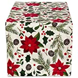 DII CAMZ38056 100% Cotton, Machine Washable, Printed Kitchen Table Runner For Dinner Parties and Holidays - 14x108', Woodland Christmas,Poinsettia