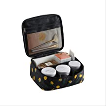 Travel Makeup Train Case Makeup Cosmetic Case Organizer Portable Artist Storage Bag with Adjustable Dividers for Cosmetics Makeup Brushes Toiletry Jewelry Digital accessories(Black lemon-B)