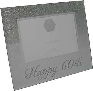 Happy 60th Silver Glitter Birthday Photo Frame Gift