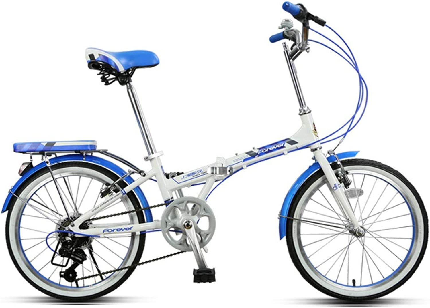 Kids' Bikes Variable Speed Bicycle Folding Bicycle Student Bicycle City Bicycle boy Girl Bicycle Small Bicycle, 20 inches, The Best Gift (color   blueee, Size   150  30  122cm)