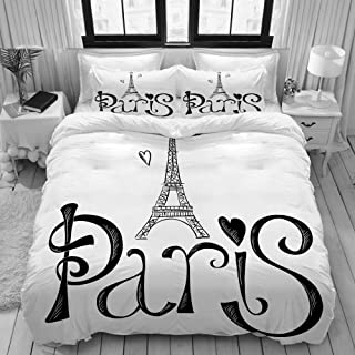 LONSANT Paris City Illustration with Eiffel Tower France Heart Shapes Silhouette Decorative Vacation Art College Dorm Room Decor Decorative Custom Design 3 PC Duvet Cover Set Twin/Twin Extra Long