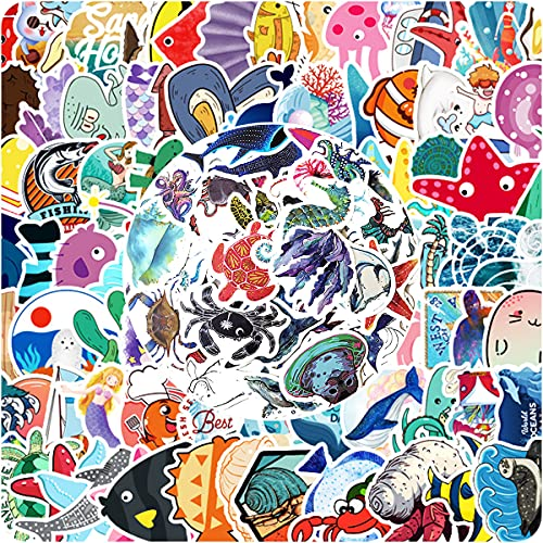 150 PCS Cute Marine Life Stickers Shark,Sea Turtle, Whale,Starfish Stickers, Colorful Waterproof Stickers for Flask, Laptop, Water Bottle, Cute Aesthetic Vinyl Stickers